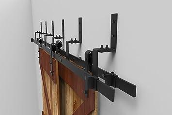 5FT Bypass Sliding Barn Double Door Hardware Track Set,Modern Interior Barn  Door Hardware Double