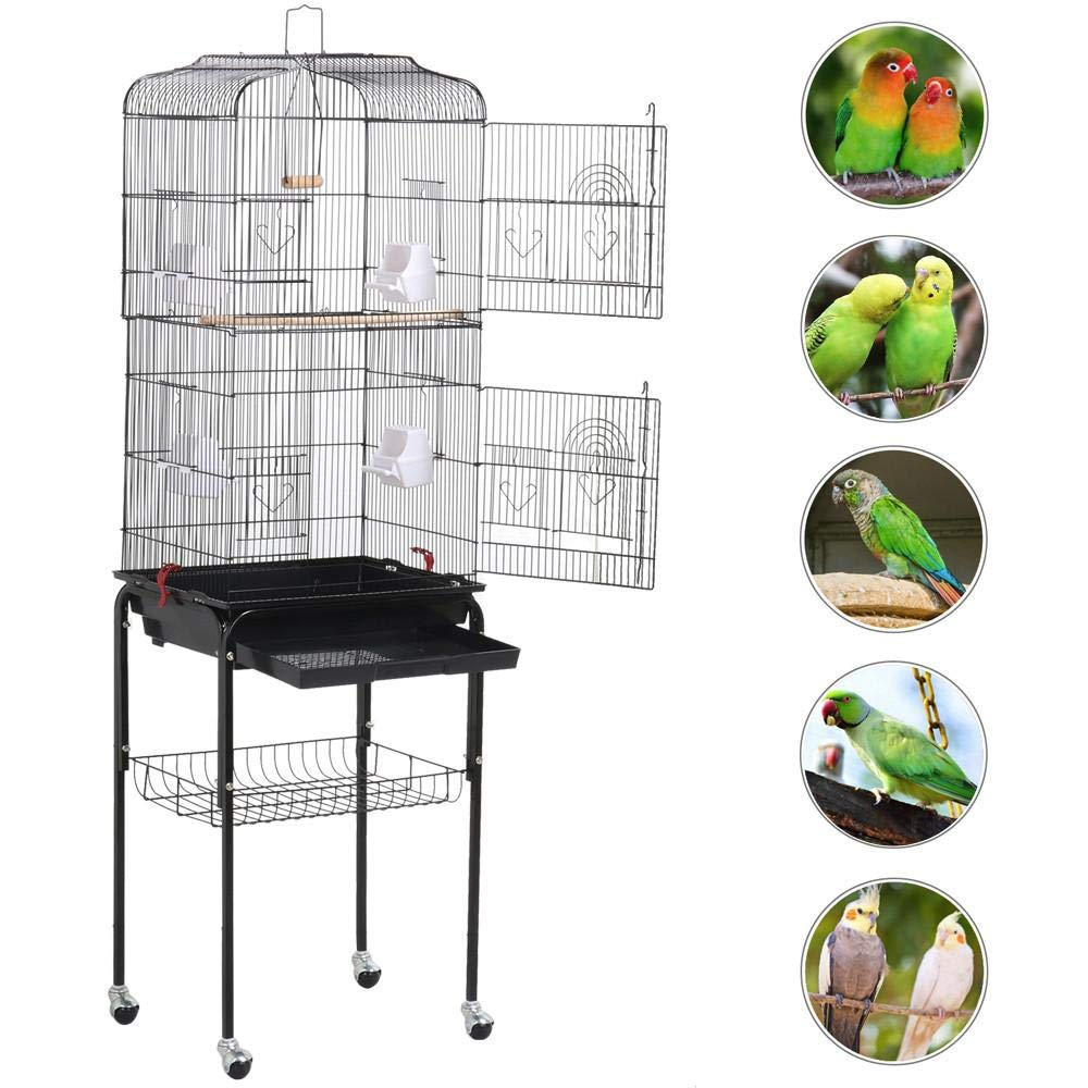 Topeakmart Medium Parrot Large Parakeet Cage for 2 Birds with Detachable Stand by Topeakmart