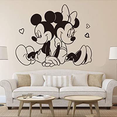 Wikaus Mickey Minnie Mouse Wall Art Decal Sticker Sitting Mickey Minnie Mouse Wall Sticker Kids Room Home Decoration Lovely Mickey Mural Minnie: Home & Kitchen