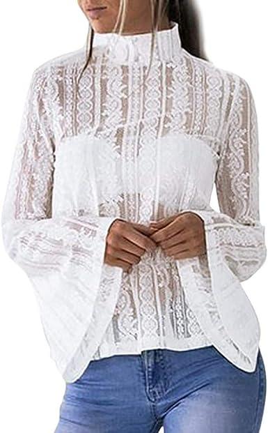 Mujer Camisas Encaje Elegante Vintage Fashion Primavera ...