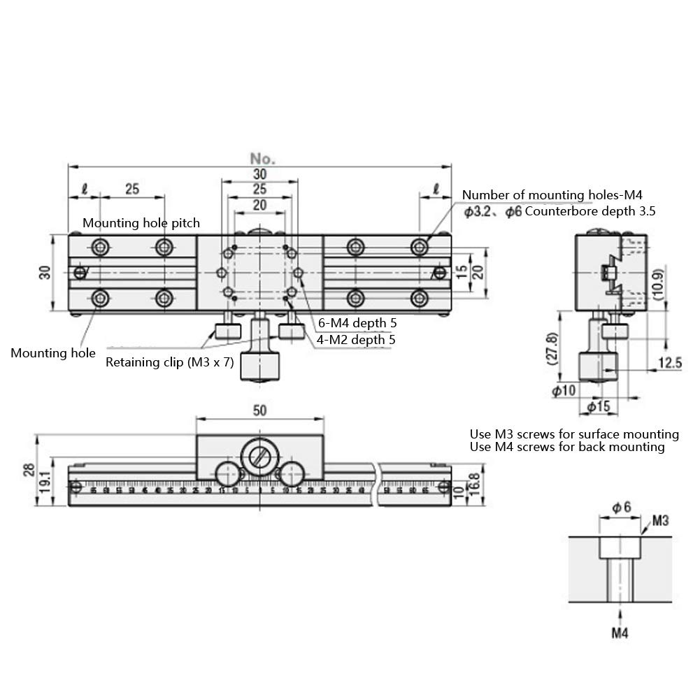 etc X Axis Manual Linear Stage,Dovetail Trimming Bearing Fine-Tuning Platform Sliding Table Aluminum Alloy,50 x 30mm 2 x 1.2inch,for Optical,microscopes,Printing Machines