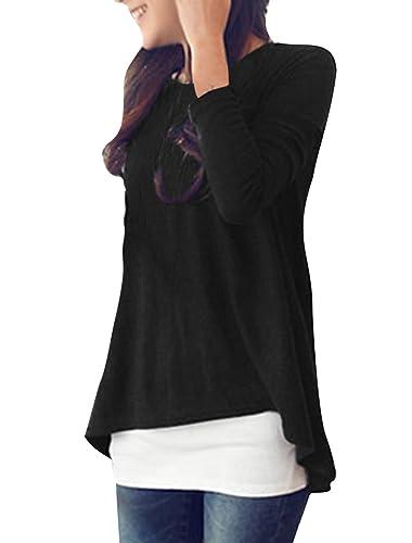 Allegra K Camiseta Para Mujer Elegante Cuello Redondo Mangas Largas Dobladillo Irregular Túnica Top