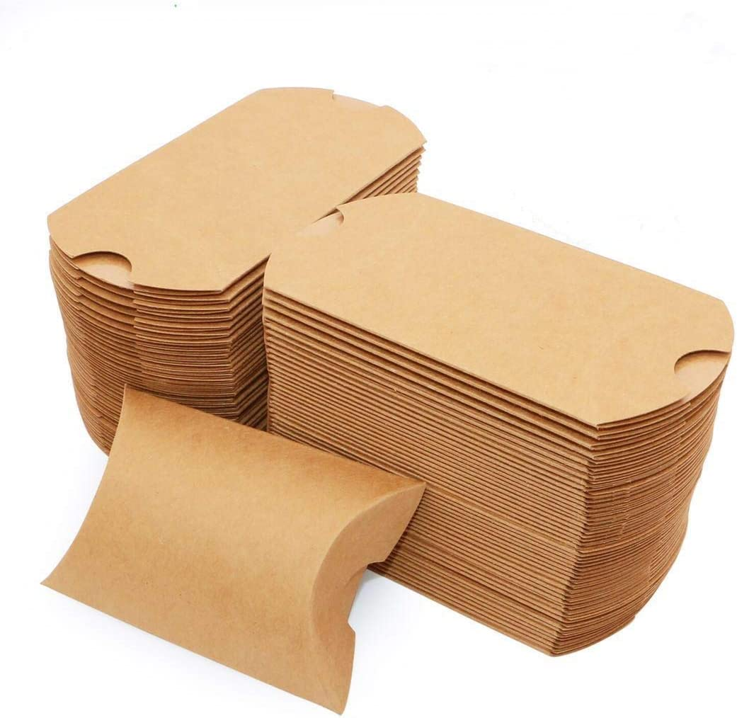 Pillow Kraft Paper Gift Boxes, Candy Treat Boxes for Party Favor Wedding Baby Shower Birthday, 100 Pack 3.5 x 1 x 2.5 Inches
