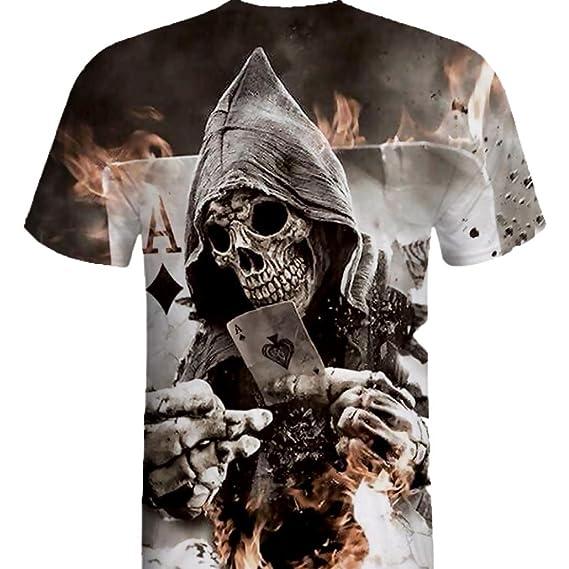 Camiseta Hombre,2018 Ofertas ZARLLE Casual CráNeo Skull Impresion 3D Tees Camiseta Para Hombre Tee
