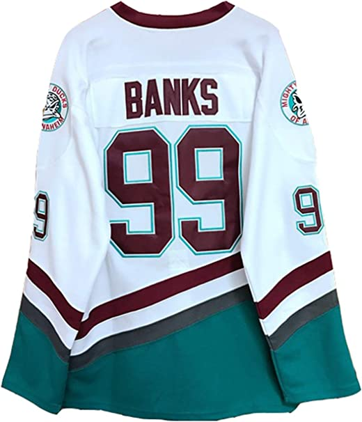 X-Large Adam Banks #99 White Mighty Ducks The Movie Jersey Hockey Men Stitched