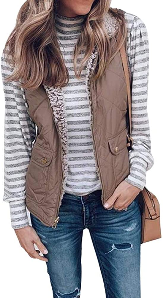 Womens Vests - Padded Lightweight Vest, Stand Collar Lightweight Zip Quilted Gilet Gray