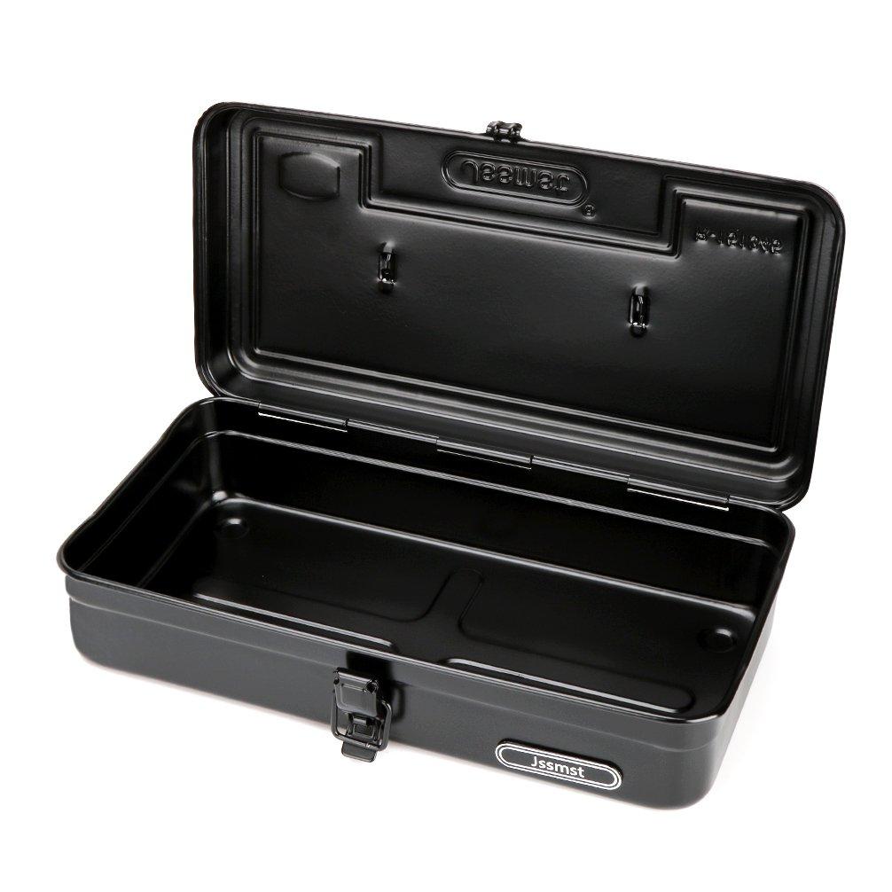 Jssmst Portable Steel Small Tool Box Black, 14 x 6.7 x 3.7'', R-151345