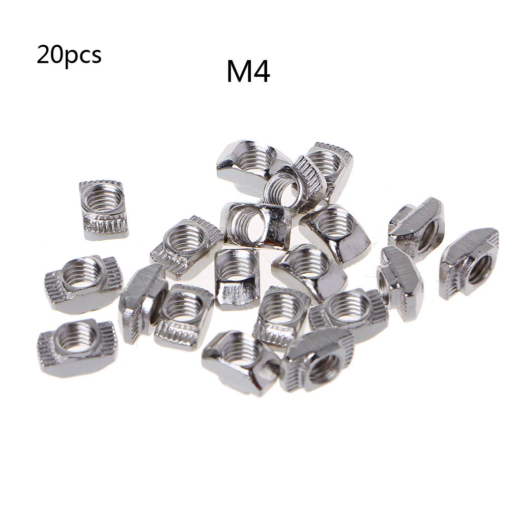 1 Jenor 20 pieces T type nuts closure aluminium plug threaded rod guide spindle M3 M4 M5 2020 3030 T hammer 1