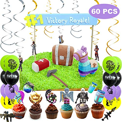 60 Pcs FN Game Party Supplies for Kids Include all Party Decorations Video Gamer Party Favors,Cake Topper,Balloons,Hanging Swirls,Cupcake Toppers