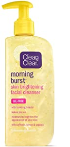 Clean & Clear Morning Burst Skin Brightening Facial Cleanser with Caffeine, Lemon & Papaya, Gentle Daily Citrus Face Wash for All Skin Types, Oil-Free & Non-Comedogenic, 8 fl. oz