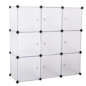 BASTUO 9-Cubes DIY Storage Cabinet Bookcase Office Shelf Baskets Modular Cubes,Closet for Toys.Books,Clothes,White with Doors