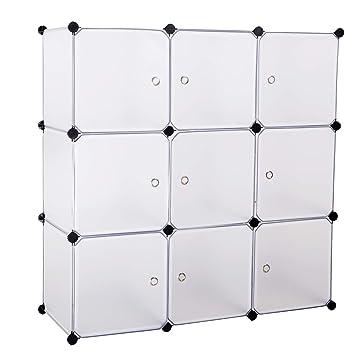 BASTUO 9 Cubos de Almacenamiento DIY Armario Estantería cestas Modular Cubos, Armario para Juguetes, Libros, Ropa, Blanco con Puertas: Amazon.es: Hogar