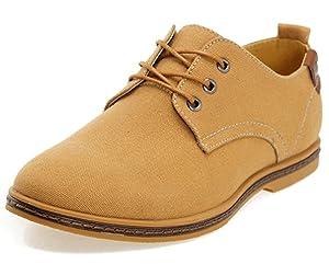 DADAWEN Men's Canvas Oxford Casual Shoe Camel US Size 11