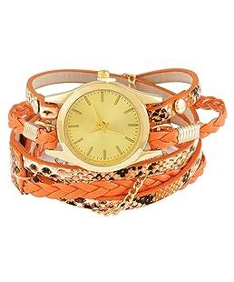 Funique Women Multilayer Artificial Leather Band Wrist Quartz Watch Orange 58cm (Orange)