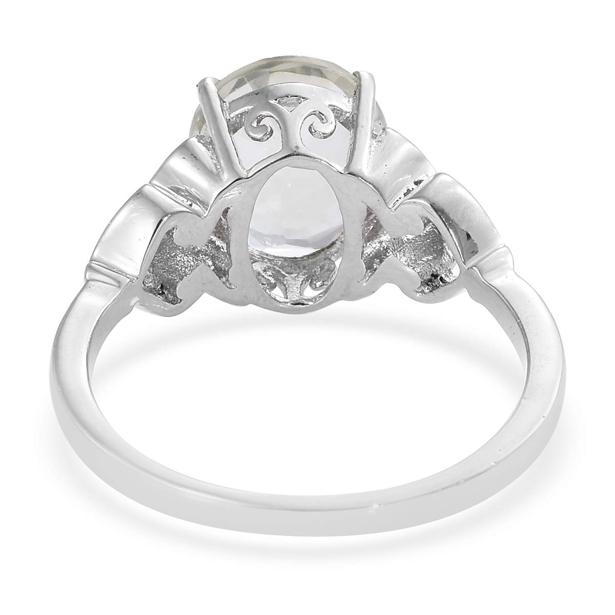 Shop LC Delivering Joy Solitaire Ring Stainless Steel Oval Green Amethyst Gift Jewelry for Women Size 10 Cttw 3.5