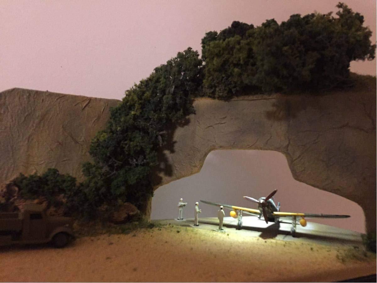 1/144 掩体壕ジオラマ LED照明クリアケース付き コトブキ飛行隊空賊秘密基地 F-toys SWEET プラモ展示用   B07S75L96L