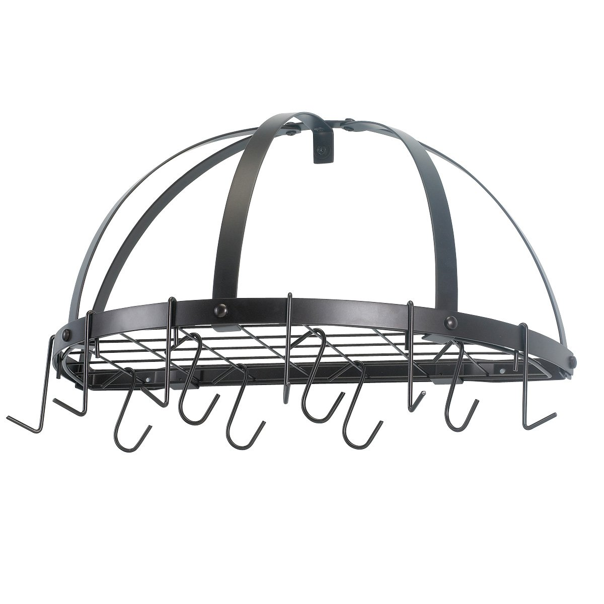 Old Dutch Half-Round Pot Rack with Grid & 12 Hooks, Oiled Bronze, 22'' x 11'' x 12''