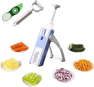 Multifunctional 6 in 1 Adjustable Slicer Safe Kitchen Food Chopper Dicer, Quick Vegetable Cutter Slicer French Fry Maker Chops, Slices, Strips, extra Peeler and 3-in-1 Avocado Slicer