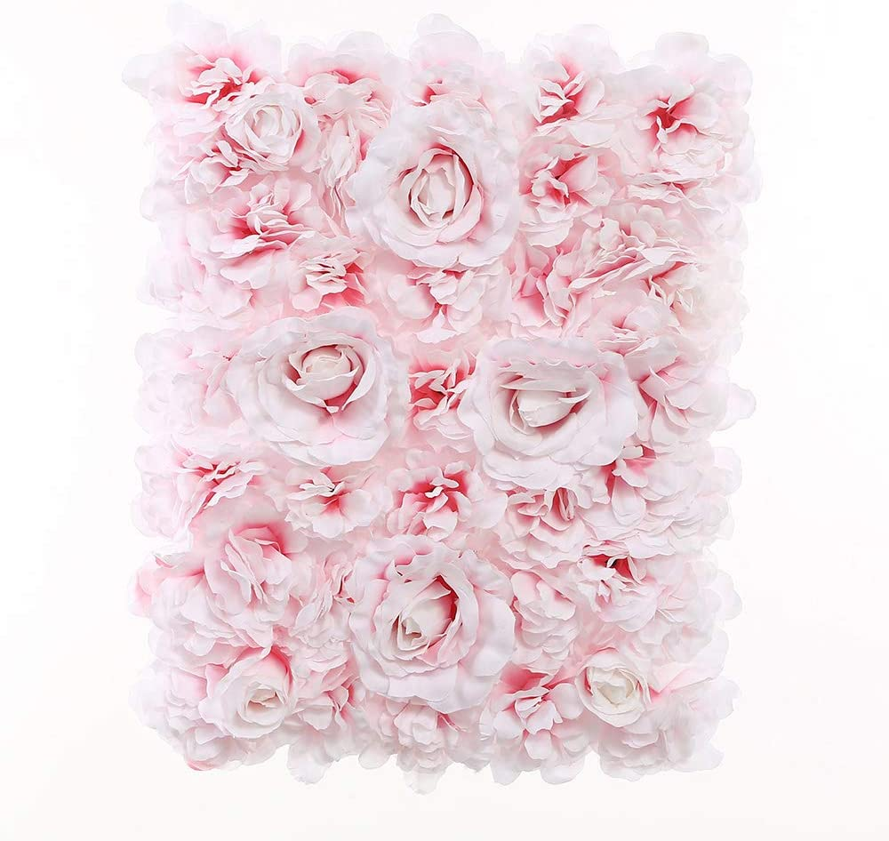 Blush Blooms Premium Decorative Flower Panel for Flower Wall Handmade with Artificial Silk Flowers for Wall Decor, Flower Wall, Wedding, Bridal & Baby Shower, and Event Decor (Gradient White and Pink)