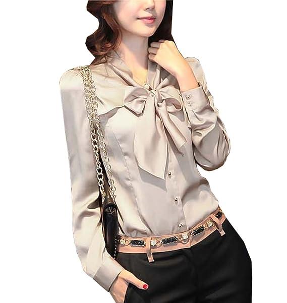 cb036c44 Women's Tops Elegant Bow Blouse Long Sleeve Korean Work Shirt (US M (Tag  Asian