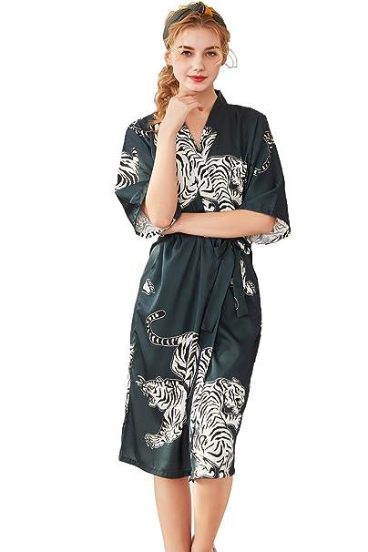 9820d657909 Robe Wedding Women Long Satin Zebra Floral Fashion Sexy Bride Robe  (banmagreen)