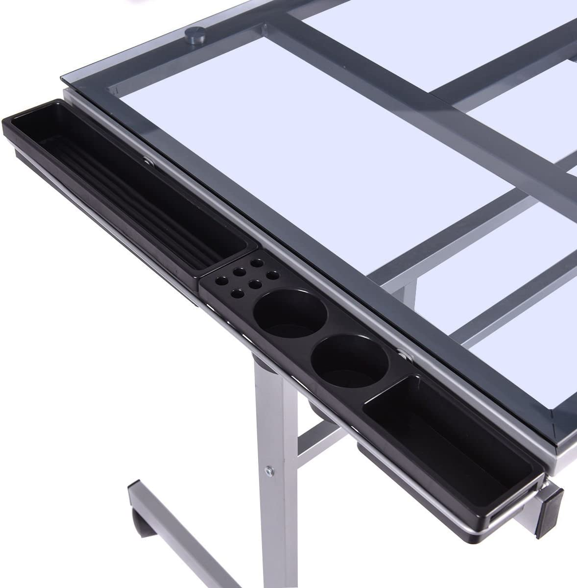 Adjustable Drawing Desk Rolling Drafting Table Glass Top Durable Portable Convenient Design