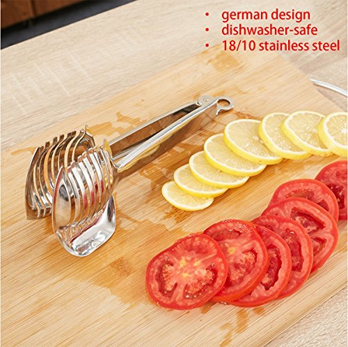 Best Utensils Tomato Slicer Lemon Cutter Multipurpose Handheld Round Fruit Tongs Stainless Steel Onion Holder Easy Slicing Kiwi Fruits & Vegetable Tools Kitchen Cutting Aid Gadgets Tool 7 GERMANY DESIGN: Unique germany design makes slicing fruits and vegetables more quickly and easily MULTI-PURPOSE: Conveniently designed slicing aid, perfect tool for any task in the kitchen, ideal for tomatoes, onions, lemon, citrus fruit & more! DURABLE & SAFETY: Made of 100% food grade 18/8 Stainless steel Material, eco-friendly, durable in use. Clamp design, multifunctional, also couble be used as food tongs.