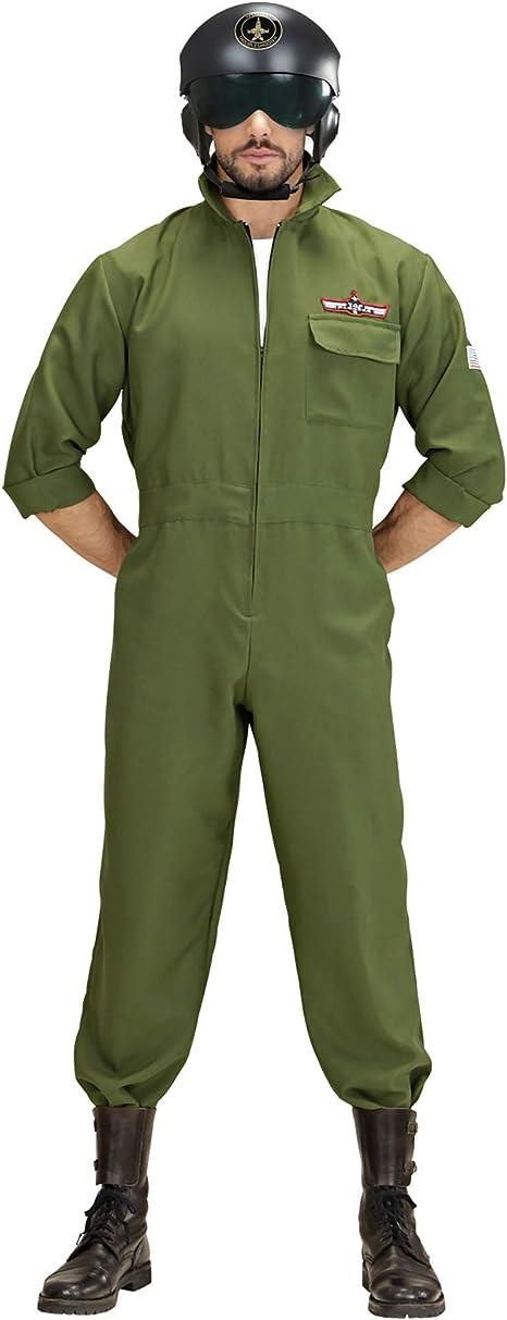 Taglia Unica Costume Per Adulti Elmo Pilota Jet da Combattimento WIDMANN WDM04858 Nero