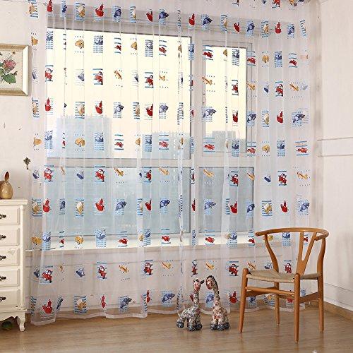 Diamondo Toddler Kids Car Pattern Voile Panel Sheer Door Room Drape Window Curtains