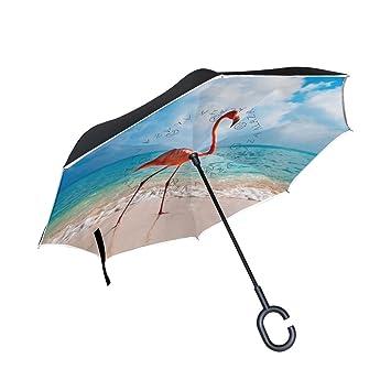 jstel doble capa puede Flamingo azul cielo nube paraguas coches Reverse resistente al viento lluvia paraguas