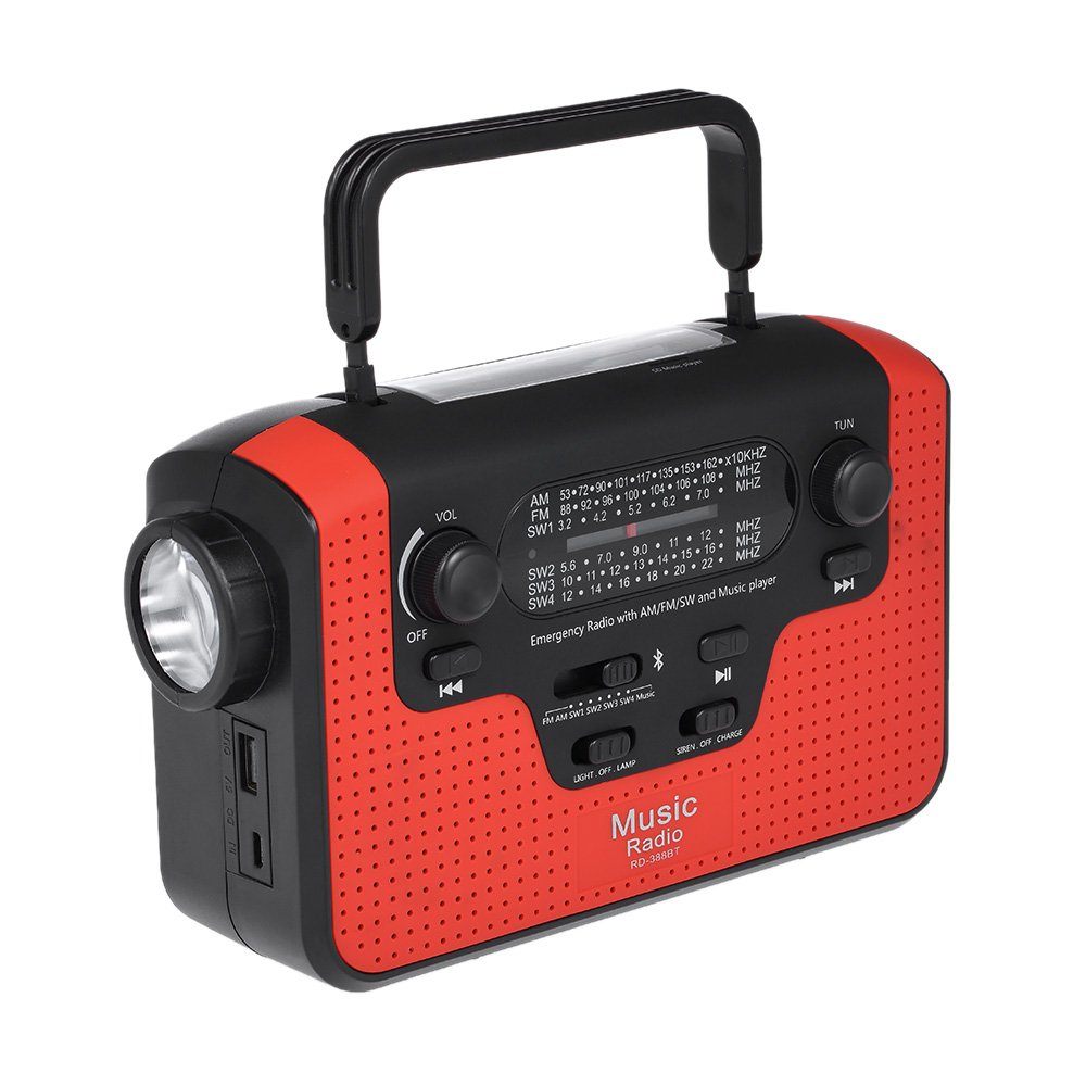 Walmeck Solar + Hand Energy Radio Emergency Power Bank FM AM Dual Band Radio w/LED Flashlight Siren Alert for Hike