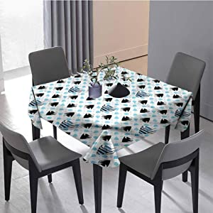 JKTOWN Aquarium Square Table Cloth Dinner Picnic Table Cloth Home Decoration 70x70 inch Cartoon Style Tiger Barb