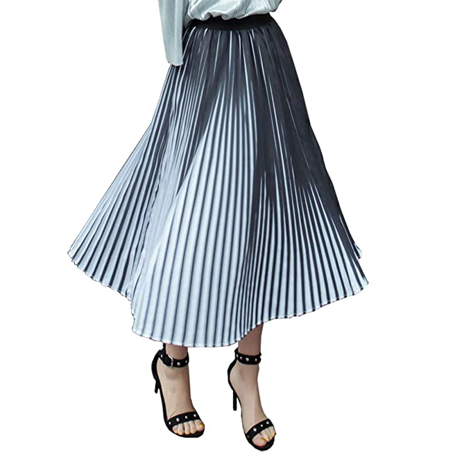 f35f23143 Klorify 2019 Black and White Striped Pleated Skirt 3D Three-Dimensional  Design Contrast Pleated Skirts