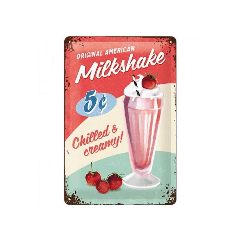 Nostalgic Art Retro Tin Sign – USA – Milkshake – Gift idea for USA & Diner fans, Metal Plaque, 20 x 30 cm