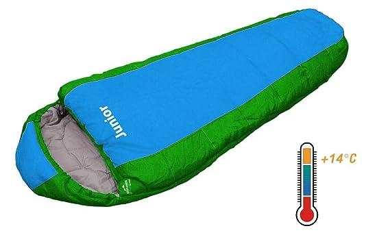 Explorer Junior 4630 - Saco de dormir para nio, 170 x 70 x 50 cm, color azul y verde: Amazon.es: Deportes y aire libre