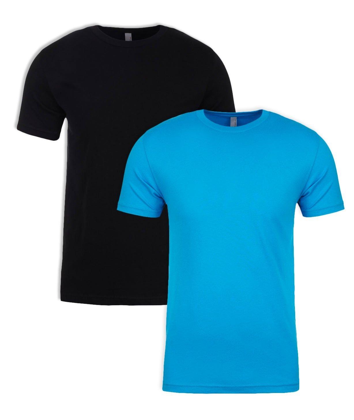Next Level NL3600 100% Cotton Premium Fitted Short Sleeve Crew 1 Black + 1 Turquoise Medium