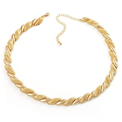 Yazilind Vogue 18K Gold Plated Rhinestone Chunky Chain Choker Collar Necklace Earrings Set for Women 6TZED