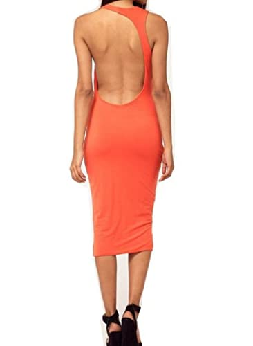 WIIPU sexy cocktail party evening club wear open back midi Dress (J188) (orange)