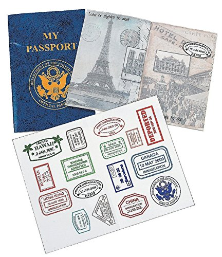 School Play Sticker (12 Passports Sticker Book, Fake Passport Sticker Books - For School Projects, Social Studies, Pretend Play, Toy, Classroom Activities, Scrapbooking, Prize – By Kidsco)