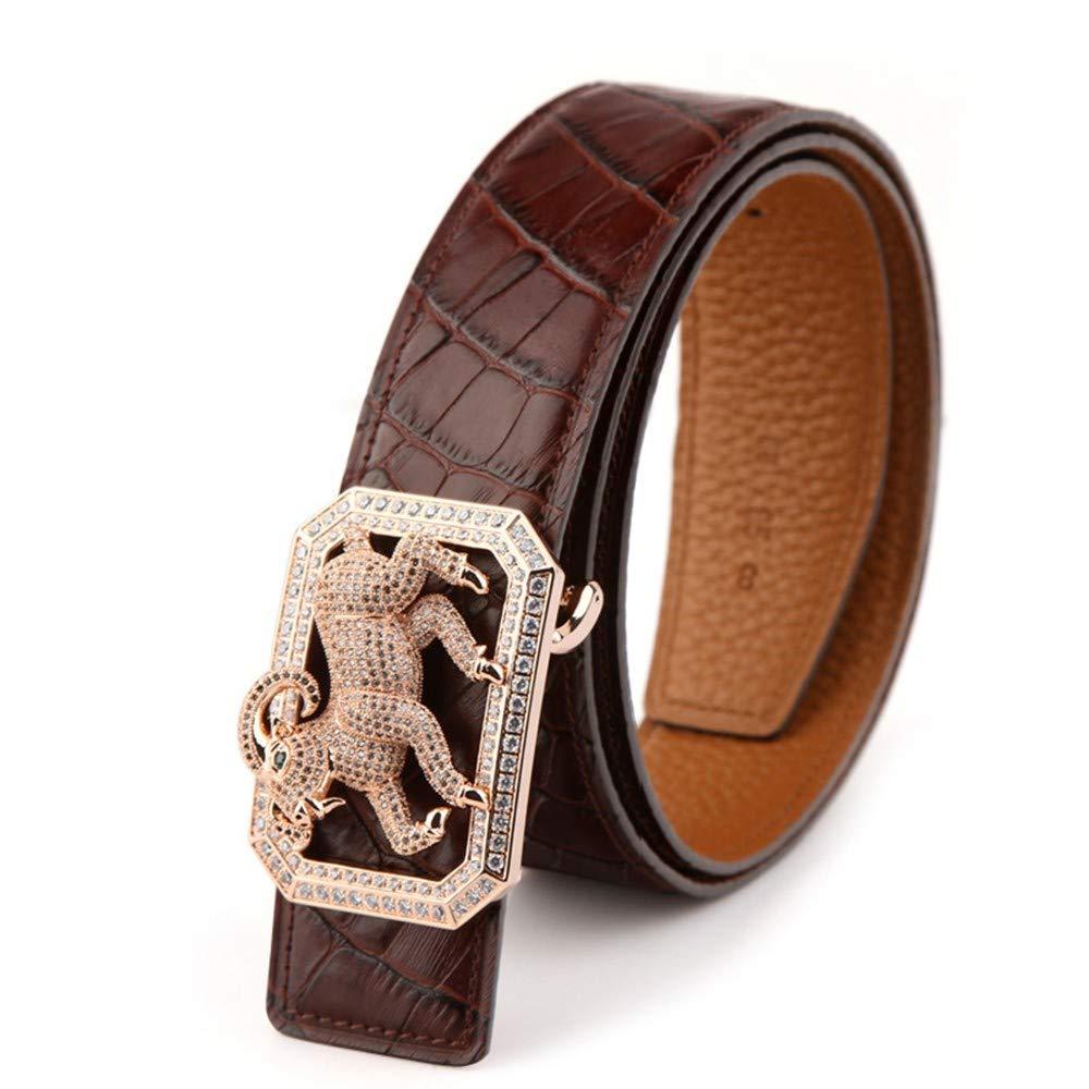 HYLIUP Leather Mens Belt Fashion Belt Mens Leather pin Buckle Belt Simple Buckle Fashion Business Belt