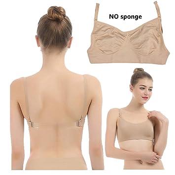 700fa2bb2ac49 iMucci - Soutien-gorge professionnel - Beige transparent - Sans coutures -  Dos nu avec bretelles transparentes réglables - Pour la danse classique