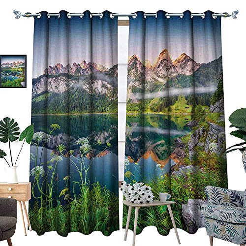 (homehot Nature Room Darkening Wide Curtains Misty Summer Morning on Austrian Alps Mountain Range with Lake Wanderlust Landscape Customized Curtains Green Blue)