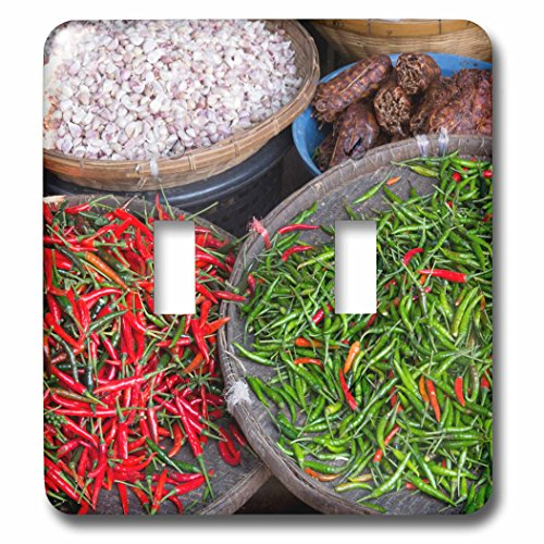 Danita Delimont - Food - Thailand, Chiang Mai. Thai street vendor of green and red Chilies. - Light Switch Covers - double toggle switch (lsp_226027_2) by 3dRose