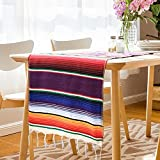 ShineU 84 x 14 inch Mexican Serape Table Runner with Fringed Ends, Vibrant Colors Cotton Woven Table Runner Ideal for Table Cloth Blanket Wall Decoration