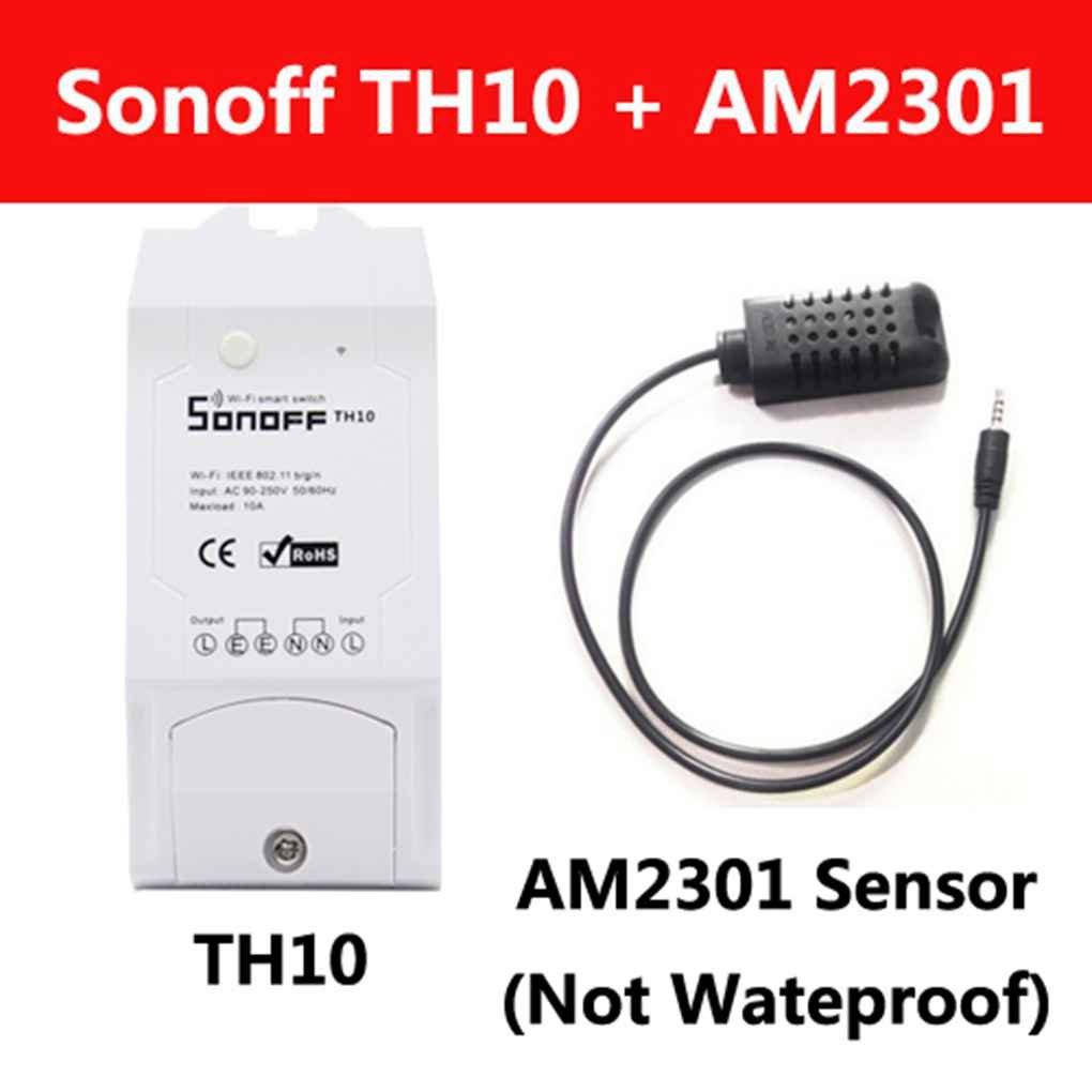 Snoff Smart Home TH10 WiFi Smart Switch Capteur de température et d'humidité Contrôleur à distance Via Smartphone Plus nouveau Home Smart Remote Control Wi-Fi Prise de courant Commutateur sans fil LUFA