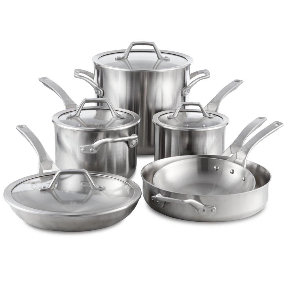Calphalon Signature Stainless Steel Cookware Set, 10-piece, Silver (1950766)