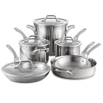 calphalon signature stainless steel cookware set 10piece silver - Calphalon Cookware Set
