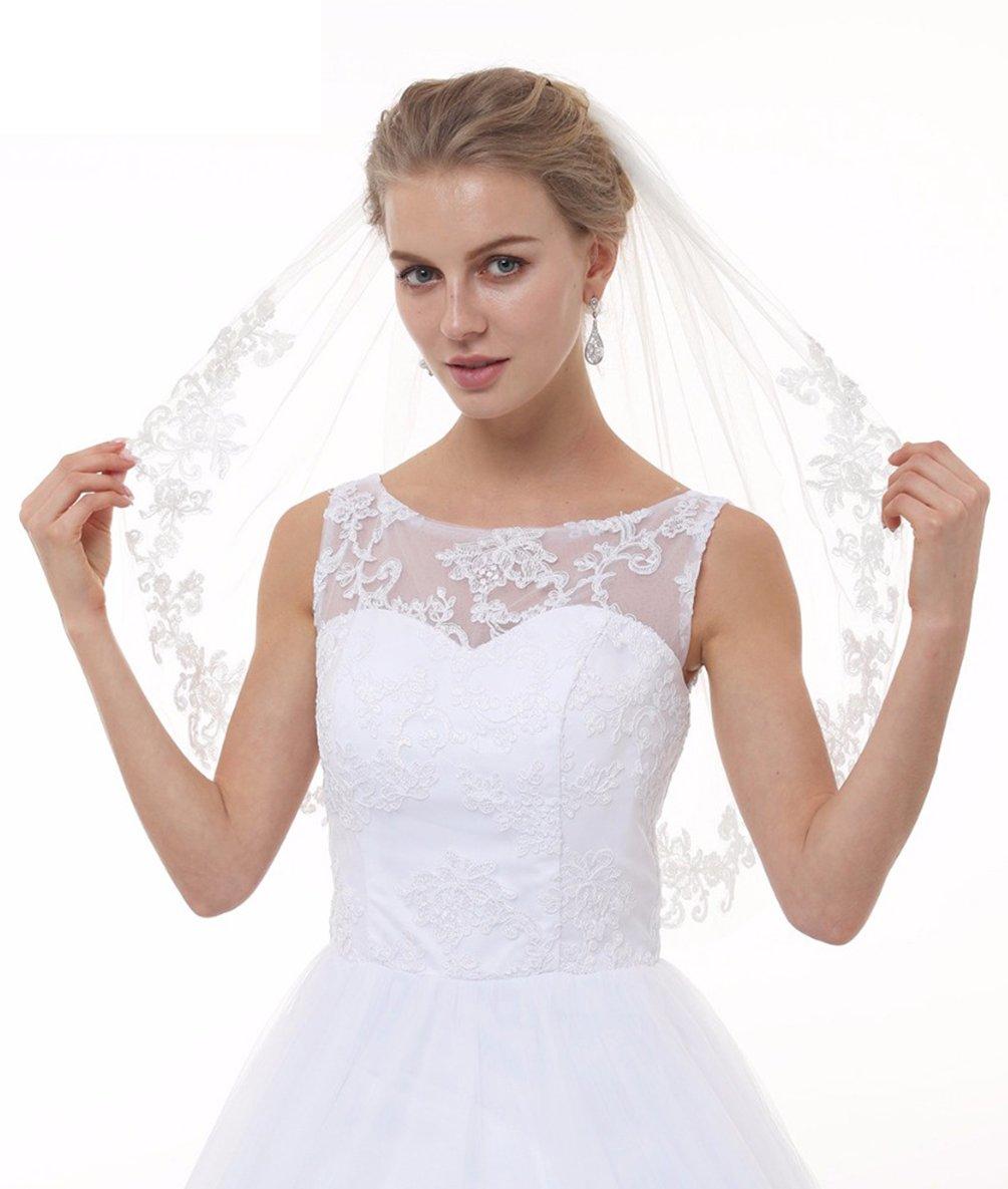 SABridal 2 Tiers Soft Tulle Bridal Wedding Veil Vintage Lace Bridal Veils Ivory
