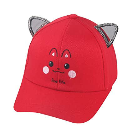 d6bc1c1f353 Jonerytime  Clothing Shoes   Accessories Cute Children Pearl Bowknot Cartoon  Cat Peaked Hat Baseball Cap Sunhat