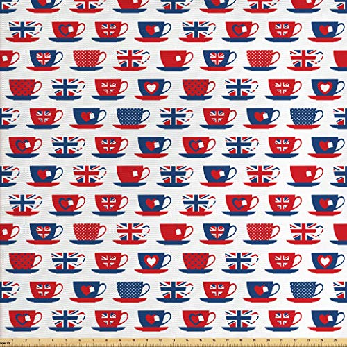 (Ambesonne Tea Party Fabric by The Yard, Britain Themed Teacup Forms Patterned Union Jack Hearts Flags, Decorative Fabric for Upholstery and Home Accents, 1 Yard, Night Blue)